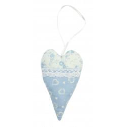 Srdíčko modré s krajkou kytička a srdíčko