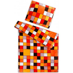 Mikroflanel Kostka oranžová